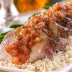 Pork Tenderloin with Tangy Pineapple Pepper Chutney Sauce - Pineapple pepper chutney brings big flavor to this easy pork tenderloin recipe.