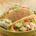Grilled Fish Tacos with Creamy Avocado Topping - Halibut is a fresh, healthy spin on traditional tacos.