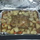 Easy Pot Roast - This cooks in an oven bag with potatoes celery, and carrots. Worcestershire sauce and dried onion and mushroom soup mix add flavor.