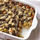Bison Sausage, Apple and Sage Strata - Autumn flavors of apple and sage are baked with bison breakfast sausage, eggs, and bread cubes in this delicious brunch strata.