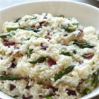Risotto with Asparagus and Bison Bacon - This recipe is a hearty take on the traditional risotto dish, complete with asparagus and bison bacon.