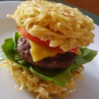 Ramen Burger - Instant ramen becomes a nearly-instant burger bun in this fun, and tasty, spin on a traditional hamburger seasoned with soy sauce and sesame oil.