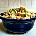 Ham and Cheese Pasta Salad - This pasta salad is a perfect vehicle for leftover ham. Cheddar cheese, peas, celery, and pimento give this pasta salad a nice color and flavorful dimension.