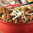 Mexican Pork Chili from Hatfield(R) - Browned ground pork is simmered slowly with lots of spices, chopped jalapeno and poblano chilies, beans and hominy for a hearty, crowd-pleasing chili.