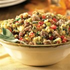 Sage Sausage Corn Bread Stuffing from Hatfield(R) - Cornbread with bacon is mixed with sage sausage and lots of veggies and herbs for a delicious, savory stuffing for turkey or pork loin.
