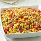 Edamame Succotash - Here's a southwest twist on a classic side dish, using edamame instead of lima beans, and a dash of pepper sauce for a bit of heat.