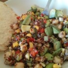Edamame Bean Salad - This versatile vegan bean salad uses black beans, garbanzo beans, edamame, and corn.