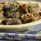 Beef Burgundy Casserole - Canned and dried soups simplify preparation of this stew, which requires about four hours in the oven. Mushrooms and red wine are added for the final ten minutes of cooking.