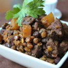 Mawmenye (Lentils and Beef Stew) - This recipe is an unusual yet yummy blend of ingredients. Beef and lentils are accented with spiced turnip, raisins and figs. It is a hearty yet easy one-pot meal.