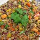 Quinoa Summer Salad - Red and white quinoa are tossed with red onions, bell peppers, and a lime dressing for a refreshing summer salad. Bring to your next summer barbeque!