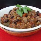 Spooky Halloween Chili - This simple chili recipe uses chili beans and stewed tomatoes. Add apple cider for additional fall flavors.
