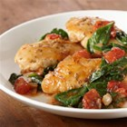 Herb Chicken Skillet with Spinach and Tomatoes - Ready in 30 minutes, this skillet chicken dish features good-for-you tomatoes and spinach. Serve over pasta or couscous.