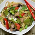 Pork Lo Mein - Pork and vegetables are stir-fried in a sesame oil sauce and tossed with linguine for a quick, Asian-inspired dinner.