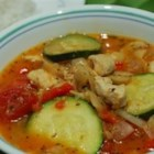 Zucchini and Pork Soup - At the end of the summer everyone tries to give each other extra zucchini from the garden. Use some in this delightful, veggie-packed pork soup, enough to feed a dinner party. Mushrooms, tomatoes, onions and bell peppers make it full-bodied and delicious!