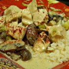 Easy Turkey Curry - Leftover turkey meat is simmered in a curry spiced creamy mushroom sauce, and served with rice.
