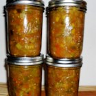 Chow Chow I - A summer relish with green tomatoes, onions, green bell peppers and chile peppers,  flavored with cinnamon, allspice and cloves.