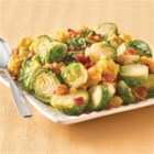 Beyond-Compare Brussels Sprouts - This accompaniment combines the popular holiday flavors of corn, stuffing and Brussels sprouts in one satisfying dish.