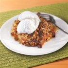 Cranberry Apple Granola Walnut Cobbler - A walnut crust with a cranberry apple filling and a granola topping.