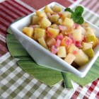 German Fried Apples - A sweet and savory old world side dish of apples and onion cooked in butter is wonderful with pork, and is ready in less than half an hour.