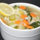 Lemon Chicken Orzo Soup - Inspired by Panera Bread's version, this soup delivers on flavor. Tender chicken in a lemony broth with orzo pasta, carrots, onions, celery, and baby spinach.