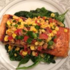 Grilled Salmon with Bacon and Corn Relish - Try a new summery take on grilled salmon served with a warm bacon and sweet corn relish.