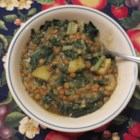 Chard Lentil Soup Lebanese Style - Find an easy-to-prepare recipe for a Lebanese-style lentil soup with Swiss chard, potatoes, and plenty of garlic and lemon juice right here.