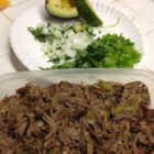 Firehouse Machaca Taco Filling - Beef chuck is simmered with onion, cilantro and peppers to make a lively taco stuffing.