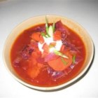 Russian Cabbage Borscht - Red cabbage and beets are slowly stewed with sauteed onions, caraway seeds, potatoes, carrots, celery, and dill weed. Cider vinegar, honey, and tomato puree provide additional depth of flavor to this recipe originally handed down from an elderly Turkish woman.