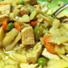 Sarah's Tofu Noodle Soup - Tofu and vegetable broth replace the chicken in this hearty, vegetarian version of chicken noodle soup.