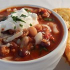 Chicken and Chorizo Chili - Chicken and chorizo sausage are simmered with plenty of beans and spices for a warm and comforting chili for cold winter nights.