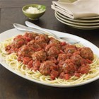 Contadina(R) Baked Meatballs in Tomato Herb Sauce - Served on hot cooked pasta with Parmesan cheese, homemade baked meatballs in a rich tomato sauce make a delicious family-favorite dinner.