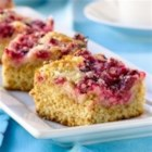 Cranberry Coffee Cake - A jazzy fresh cranberry streusel topping harmonizes with the nutty, rustic flavour note of the bran in this coffee cake.