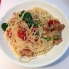 Spaghettini Chicken - This is a copy-cat recipe I created from a restaurant in the Bay Area.  It's a soupy sauce, not a thick one.  It's a nice change.