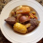 Cazuela de Vaca (Beef and Pumpkin Stew) - This hearty Chilean stew of beef, corn, and pumpkin is a one dish meal. The main ingredients are stewed in serving-sized pieces, so that each person receives a large piece surrounded by a broth with the other vegetables.
