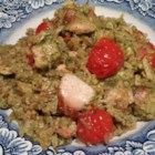 Salmon and Pesto with Rice - Pesto coated salmon is steamed over a bed of flavorful rice!