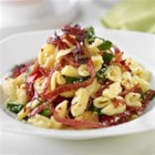 Orecchiette Pasta with Margherita(R) Genoa Salami - Thinly-sliced strips of Margherita(R) Genoa salami, roasted garlic, baby spinach and fresh basil create an unforgettable orecchiette pasta dish.