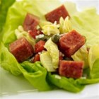 Margherita(R) Pepperoni Antipasto Lettuce Wraps - Put an Italian spin on this traditional Asian dish with bibb lettuce filled with fresh antipasto made from Margherita(R) Pepperoni, artichoke hearts, roasted red peppers, capers and your favorite Italian cheese.