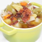 Green Tomato and Bacon Soup - Green tomato and bacon make the perfect combination for a hearty soup at the end of tomato season. Serve with a nice crusty bread.