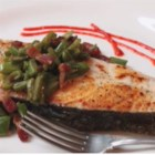 Seared Halibut with Bacon and Bean Relish - Crisp bacon, fresh green beans, and perfectly seared halibut are a natural combination in this stunning dish.
