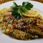 Broiled Grouper Parmesan - Fresh grouper is my absolute favorite.  It is a mild fish and this recipe may entice even those who don't like fish to make it a favorite. The recipe is super easy and can be served with a minimum preparation and cooking time.  Perfect for a warm summer evening supper. Garnish with lemon twists and parsley before serving.