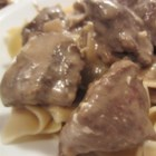 Beef Stroganoff I - Thinly sliced sirloin tip, onions, and sour cream are combined in this elegant, easily prepared dinner-party staple. It could even be made in advance and gently reheated, adding the sour cream just before serving.