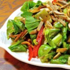 Crunchy Bok Choy Salad - This bok choy salad gets its crunch from ramen noodles and toasted almonds. It is then tossed with a balsamic vinaigrette and soy sauce dressing for a flavorful salad.