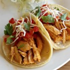 Steve's Roasted Chicken Soft Tacos - Seasoned rotisserie chicken, pico de gallo, and Mexican cheese blend layered in flour tortillas make quick and easy chicken soft tacos perfect for weeknights.
