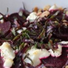 Roasted Beets with Goat Cheese and Walnuts - Sweet and earthy roasted beets team up with crunchy toasted walnuts and creamy goat cheese to make a warm salad for a delightful fall lunch or side dish.