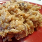 Rice Casserole - Use a microwave to make this buttery rice casserole which uses cans of French onion and cream of mushroom soups.