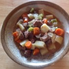 Apple Cider Beef Stew - In this savory stew, apple cider and sliced apple bring sweetness while cider vinegar adds tang to a one-pot meal made with beef, carrots, potatoes, and celery. Serve with a hearty, crusty bread.