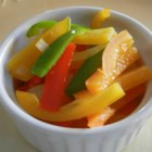 Bob's Sweet Pepper Skillet - This is a quick-and-easy stir-fry vegetable dish with bell peppers and red onion seasoned simply with sesame oil, salt, and pepper.