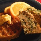 Breakfast Meatloaf - I threw some stuff together and made this.  It's seasoned like sausage, pretty tasty.  I make it in large batches, slice and freeze it.  It makes an easy, nutritious and satisfying breakfast.