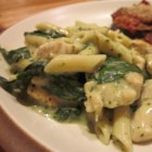 Pesto Chicken Florentine - Spinach, chicken and pasta are smothered in a glorious creamy pesto sauce.