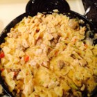 Cajun Chicken and Sausage Pasta - Cajun-seasoned grilled chicken breast and jalapeno sausage flavor a skillet meal of bow tie pasta and vegetables in a creamy sauce.